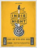 Affiche de partie de nuit de roche Insecte Le vintage a dénommé l'illustration de vecteur illustration stock