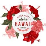 Affiche de partie de plage d'Aloha Hawaii Images libres de droits
