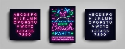 Affiche de partie de plage de nuit Partie d'été, insecte au néon de style, Palm Beach, calibre musical d'affiches de nuit, la pub Illustration de Vecteur