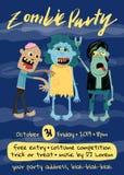 Affiche de partie de zombi de Halloween avec le groupe de monstre illustration stock