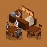 Affiche de People Isometric Brown de barman de serveuse Photos stock