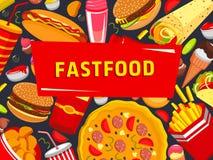 Affiche de pizza d'hamburgers d'aliments de préparation rapide de vecteur Illustration Libre de Droits
