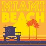 Affiche de plage de côte de Miami Beach, la Floride Photos stock