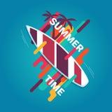 Affiche de planche de surf d'été Photographie stock libre de droits