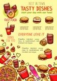 Affiche de prêt-à-manger de vecteur pour le restaurant d'aliments de préparation rapide Illustration Stock