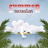 Affiche de récréation d'été rétro Paysage marin de vintage illustration libre de droits