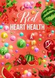 Affiche de régime de couleur de Detox avec la nourriture rouge de vitamine de jour illustration libre de droits