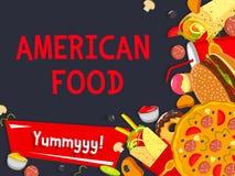 Affiche de repas de restaurant d'aliments de préparation rapide de vecteur Illustration Libre de Droits
