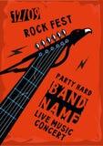 Affiche de roche avec le riff de guitare Image libre de droits
