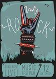 Affiche de roche avec une main Photographie stock libre de droits