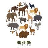 Affiche de saison de chasse de vecteur des animaux sauvages illustration libre de droits