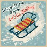 Affiche de saison d'hiver rétro illustration libre de droits