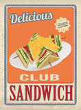 Affiche de sandwich à club rétro illustration de vecteur