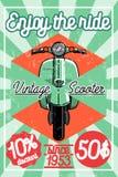 Affiche de scooter de vintage de couleur illustration libre de droits