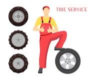 Affiche de service de pneu avec l'illustration de vecteur de l'homme illustration de vecteur