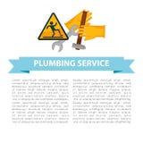 Affiche de service de tuyauterie avec le vecteur des textes et de signes illustration de vecteur