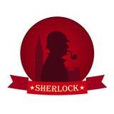 Affiche de Sherlock Holmes Illustration révélatrice Illustration avec Sherlock Holmes Rue 221B de Baker Londres GRANDE INTERDICTI Photographie stock