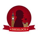 Affiche de Sherlock Holmes Illustration révélatrice Illustration avec Sherlock Holmes Rue 221B de Baker Londres GRANDE INTERDICTI Photos libres de droits