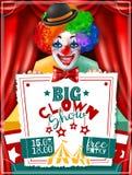 Affiche de Show Invitation Advertisement de clown de cirque Photographie stock