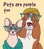 Affiche de signe de lettre de carte de mode d'animaux d'animaux familiers Photos libres de droits