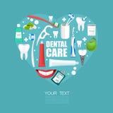 Affiche de soins dentaires avec des équipements et la forme de coeur Images stock