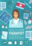 Affiche de soins de santé de thérapeute ou de psychothérapeute illustration stock