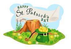 Affiche de St Patrick Day Recherche des pièces d'or Illustration de vecteur Images stock