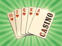 Affiche de style de vintage de casino avec jouer des cartes Rétro illustration de vecteur Photographie stock