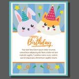 Affiche de thème de joyeux anniversaire avec le renard et le lapin illustration libre de droits