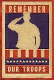Affiche de timbre de vintage de jour de vétérans de Memorial Day Photographie stock libre de droits