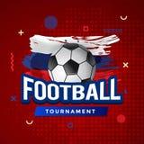 Affiche de tournoi du football avec le fond rouge et le drapeau russe balayé Photos libres de droits