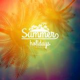 Affiche de typographie de coucher du soleil de palmier Images stock