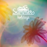 Affiche de typographie de coucher du soleil de palmier Image stock
