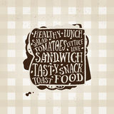 Affiche de typographie de vecteur avec l'icône de sandwich guillemet Photo libre de droits