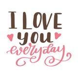 Affiche de Valentine Day Affiche ou carte tirée par la main Messages d'amour tex manuscrit de calligraphie Illustration de vecteu Photos libres de droits