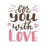 Affiche de Valentine Day Affiche ou carte tirée par la main Messages d'amour tex manuscrit de calligraphie Illustration de vecteu Photo libre de droits