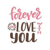 Affiche de Valentine Day Affiche ou carte tirée par la main Messages d'amour tex manuscrit de calligraphie Illustration de vecteu Photos stock