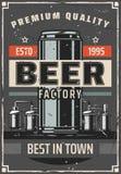 Affiche de vecteur de barre d'usine ou de brasserie de bière rétro illustration de vecteur
