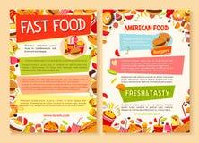 Affiche de vecteur d'aliments de préparation rapide de plat et de repas de prêt-à-manger Images stock