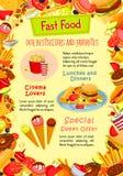 Affiche de vecteur d'aliments de préparation rapide des casse-croûte de prêt-à-manger Illustration de Vecteur