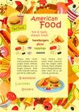 Affiche de vecteur d'aliments de préparation rapide pour le menu de restaurant Photographie stock