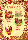 Affiche de vecteur d'aliments de préparation rapide pour le restaurant de prêt-à-manger Image stock
