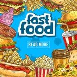 Affiche de vecteur d'aliments de préparation rapide pour le restaurant de prêt-à-manger Photographie stock libre de droits