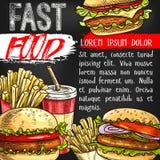 Affiche de vecteur d'aliments de préparation rapide pour le restaurant de prêt-à-manger Images libres de droits