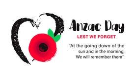 Affiche de vecteur d'Anzac Day De peur que nous oubliions Coeur tiré par la main avec la fleur rouge lumineuse de pavot illustration stock