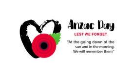 Affiche de vecteur d'Anzac Day De peur que nous oubliions Coeur tiré par la main avec la fleur rouge lumineuse de pavot illustration libre de droits