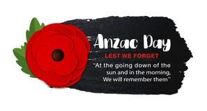 Affiche de vecteur d'Anzac Day sur un fond tiré par la main d'encre Photos libres de droits