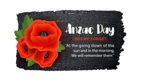 Affiche de vecteur d'Anzac Day sur un fond tiré par la main d'encre De peur que nous illustration de vecteur