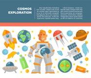 Affiche de vecteur d'exploration d'univers de cosmos illustration stock