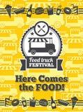 Affiche de vecteur de festival de camion de nourriture Photographie stock